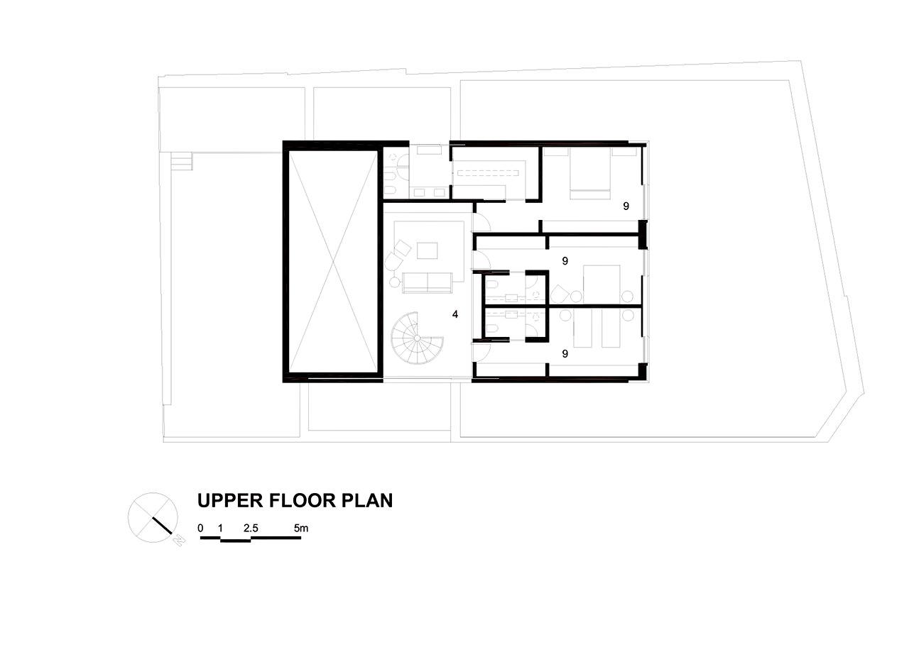 Upper Floor Plan – Cubo House Luxury Residence – Jardins, São Paulo, Brazil