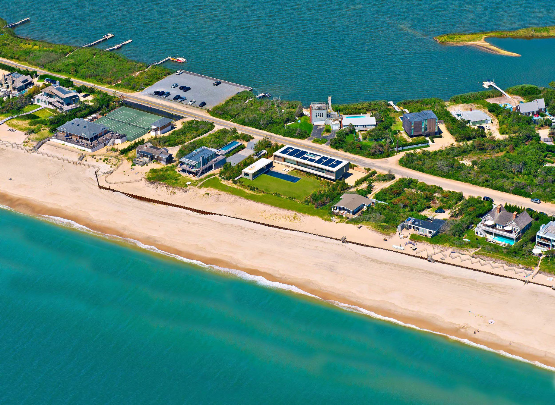 Aerial – Hamptons Luxury Modern – 1285 Flying Point Rd, Water Mill, NY, USA