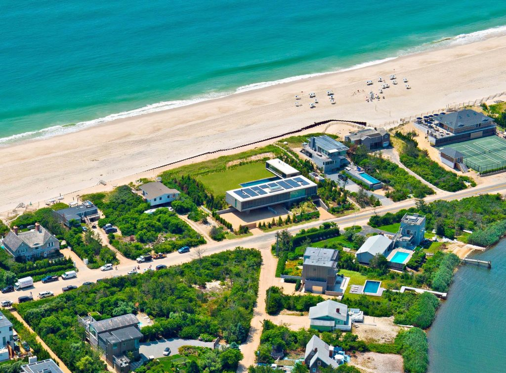 Aerial - Hamptons Luxury Modern - 1285 Flying Point Rd, Water Mill, NY, USA