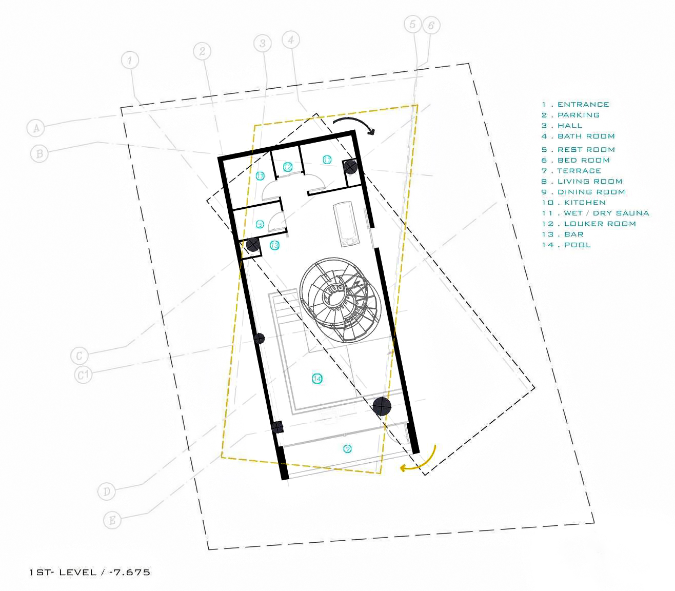 First Level Floor Plan – Three Views House Luxury Residence – Mosha, Tehran, Iran