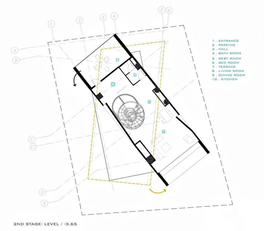 Second Level Floor Plan - Three Views House Luxury Residence - Mosha, Tehran, Iran