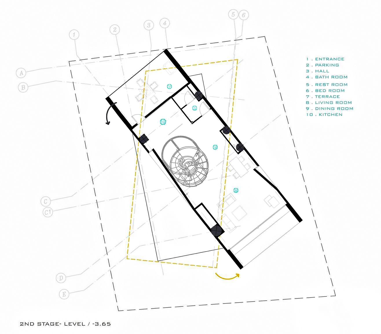 Second Level Floor Plan - Three Views House Luxury Residence - Mosha, Tehran, Iran