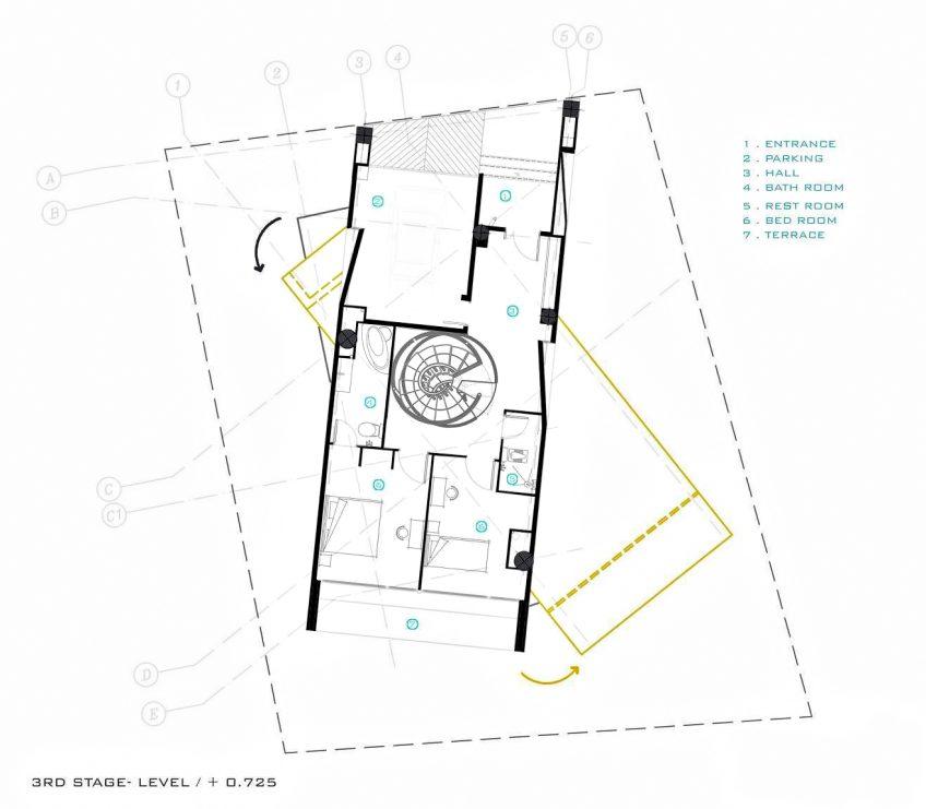 Third Level Floor Plan - Three Views House Luxury Residence - Mosha, Tehran, Iran