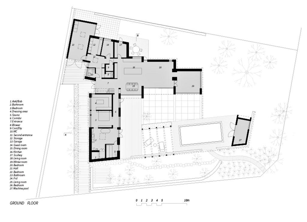 Ground Floor Plan - Villa J Residence - Sjovagen 7, Höllviken, Skåne, Sweden