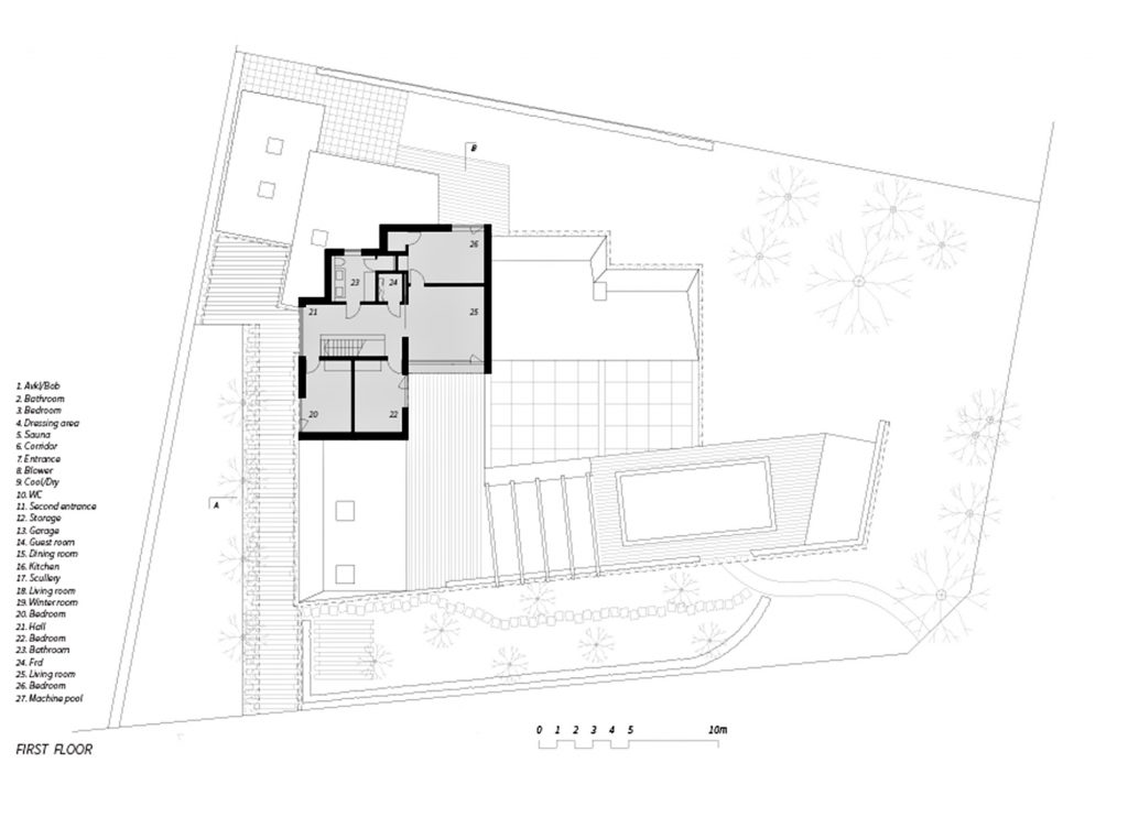 First Floor Plan - Villa J Residence - Sjovagen 7, Höllviken, Skåne, Sweden