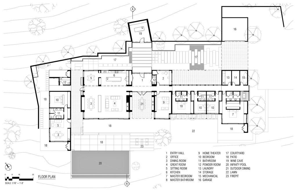 Floor Plan - Napa Valley Luxury Residence - Silverado Trail, Napa, CA, USA