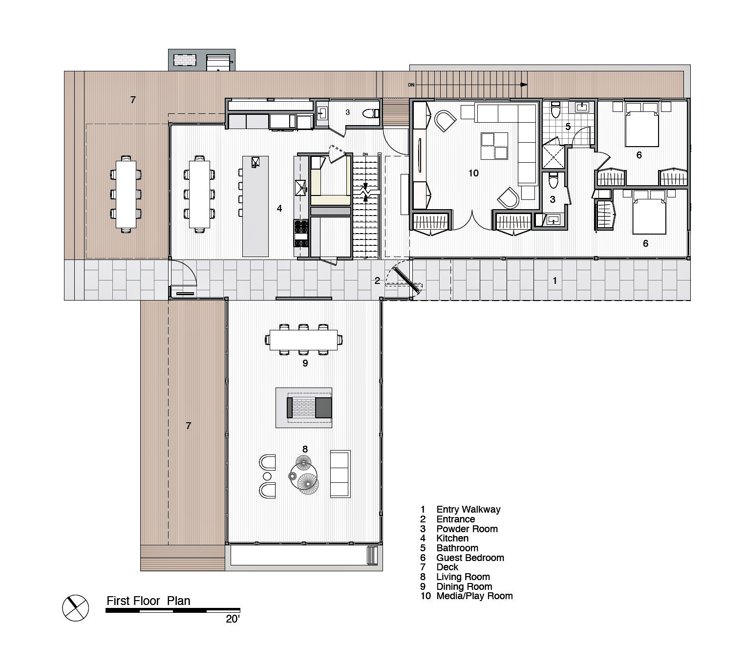 First Floor Plan - Peconic Bay Residence - Clearview Dr, Sag Harbor, NY, USA