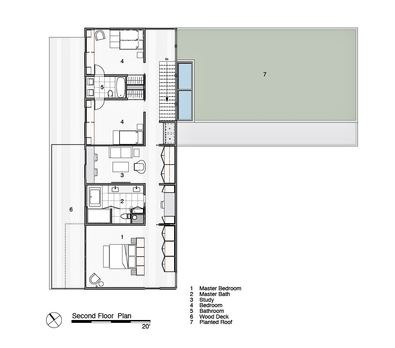 Second Floor Plan - Peconic Bay Residence - Clearview Dr, Sag Harbor, NY, USA