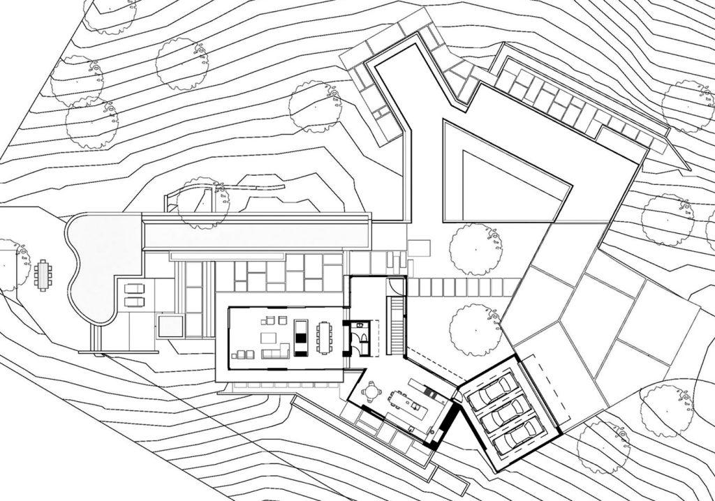Floor Plans - Oak Pass Residence - 9601 Oak Pass Rd, Beverly Hills, CA, USA