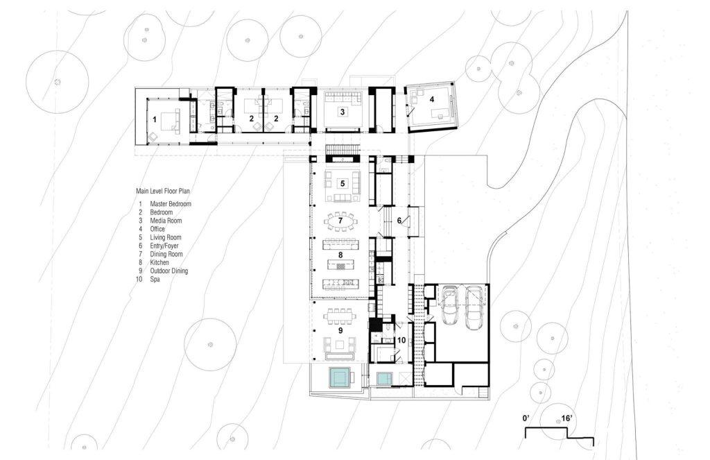 Main Level Floor Plan - Martis Camp 479 Luxury Residence - Truckee, CA, USA