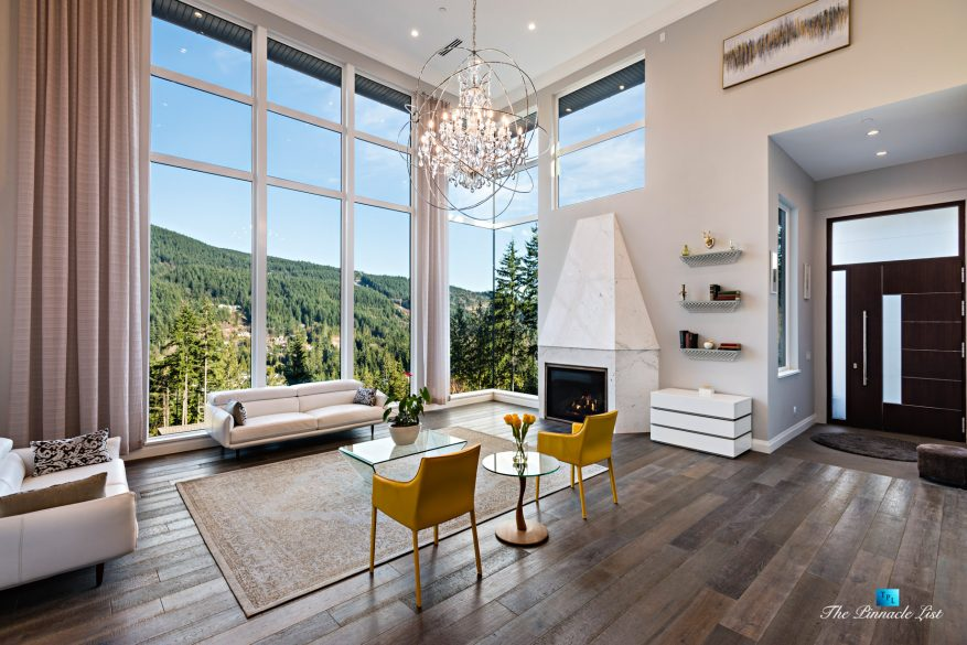 1083 Uplands Dr, Anmore, BC, Canada - Living Room Mountain View - Luxury Real Estate - Greater Vancouver West Coast Modern Home