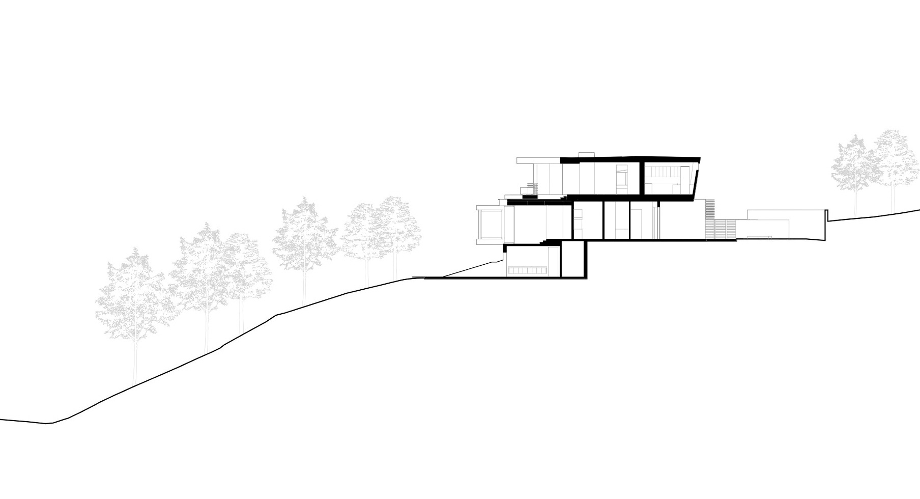 Elevations - Tree Top Residence - North Barrington Ave, Los Angeles, CA, USA