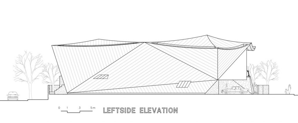 Leftside Elevation - Ga On Jai Residence - Seongnam, Gyeonggi, South Korea