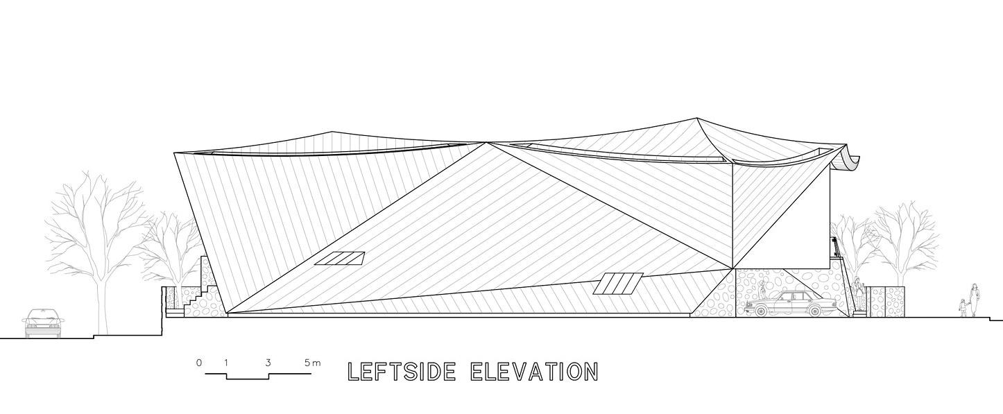 Leftside Elevation - Ga On Jai Residence - Seongnam, Gyeonggi, South Korea