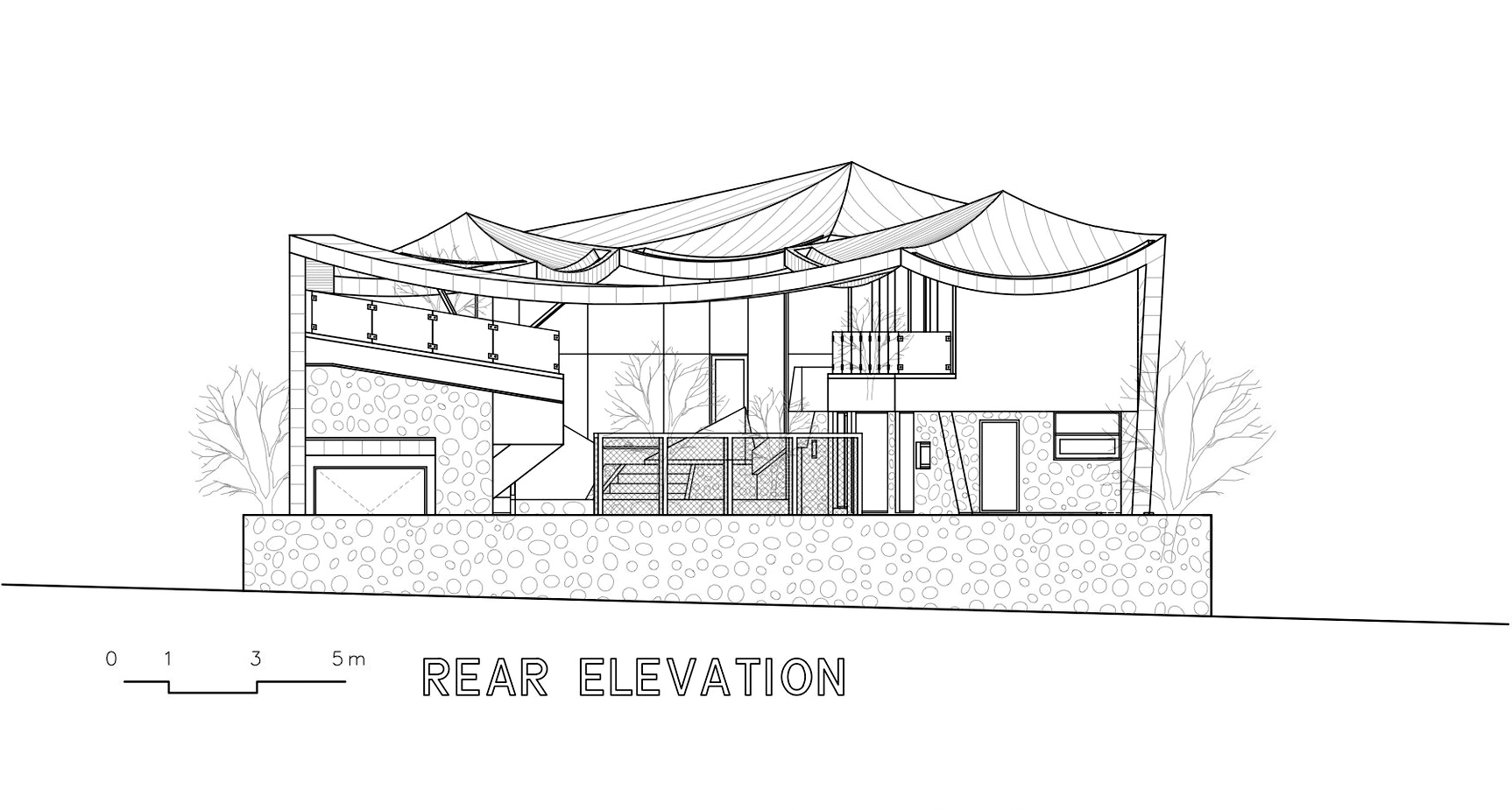 Rear Elevation - Ga On Jai Residence - Seongnam, Gyeonggi, South Korea