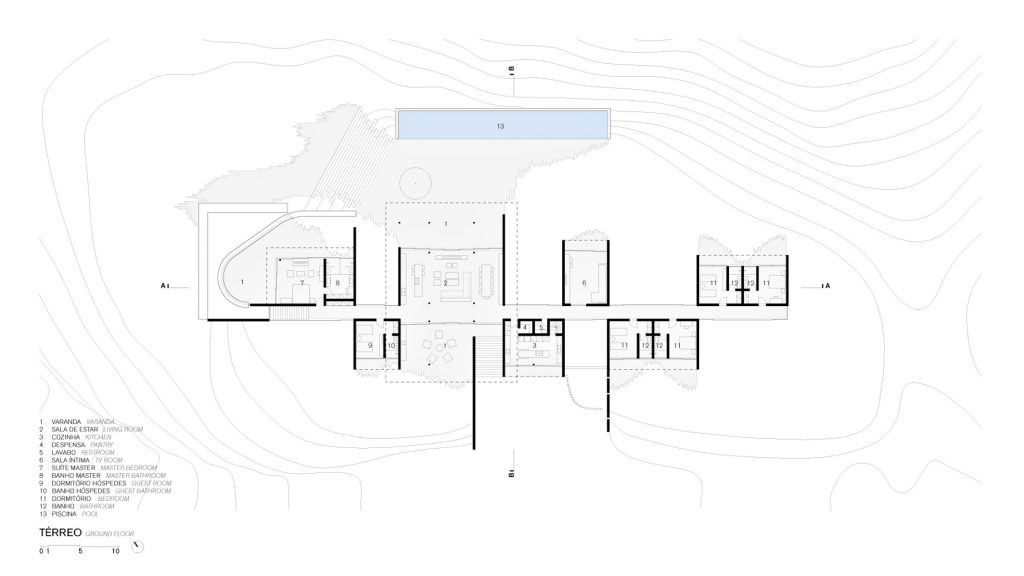 Ground Floor Plan - Casa Terra Residence - Itaipava, Petrópolis, Rio de Janeiro, Brazil