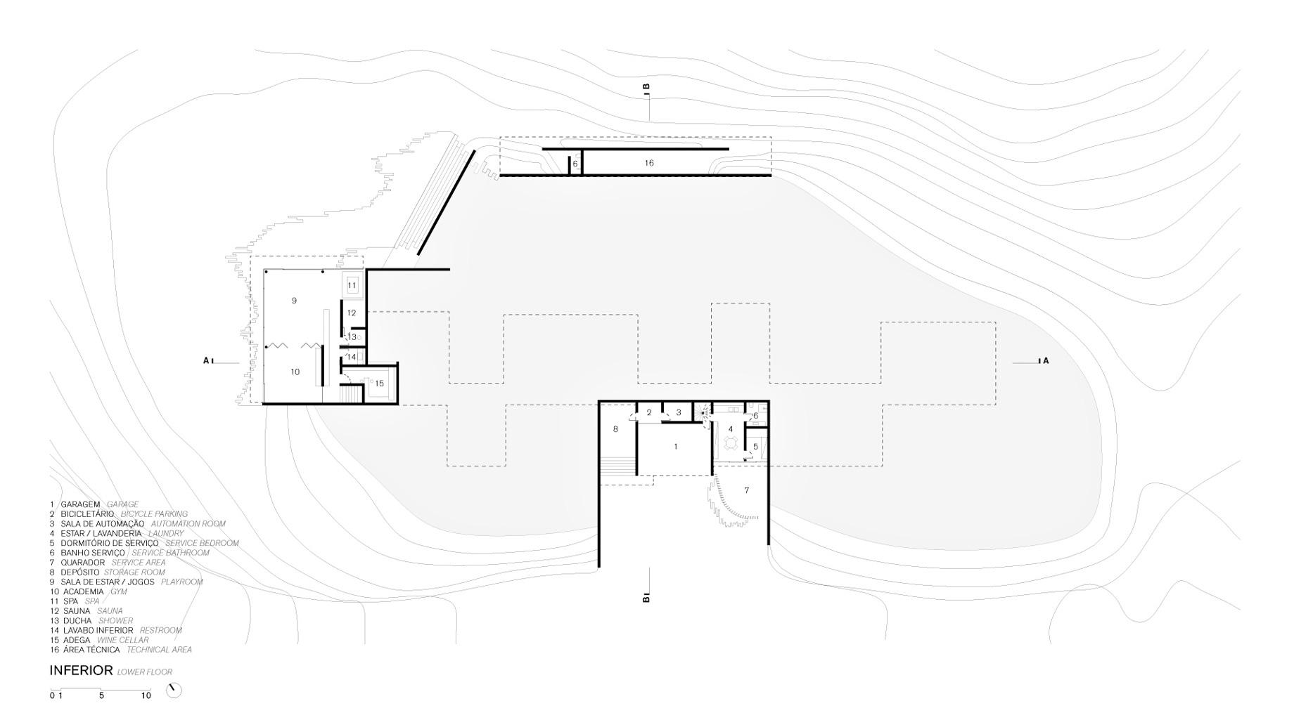 Lower Floor Plan - Casa Terra Residence - Itaipava, Petrópolis, Rio de Janeiro, Brazil