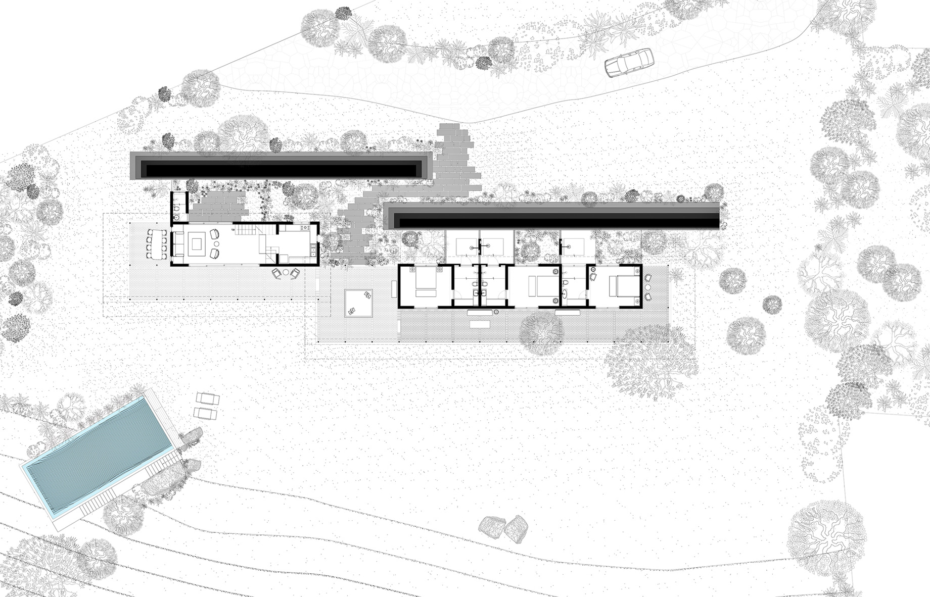 Site Plan - Lake Pawna Gabion House - Lonavala, Pune, Maharashtra, India
