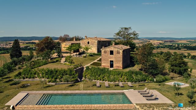 Podere Paníco Estate - Monteroni d'Arbia, Tuscany, Italy - Drone Aerial Property Pool View - Luxury Real Estate - Tuscan Villa
