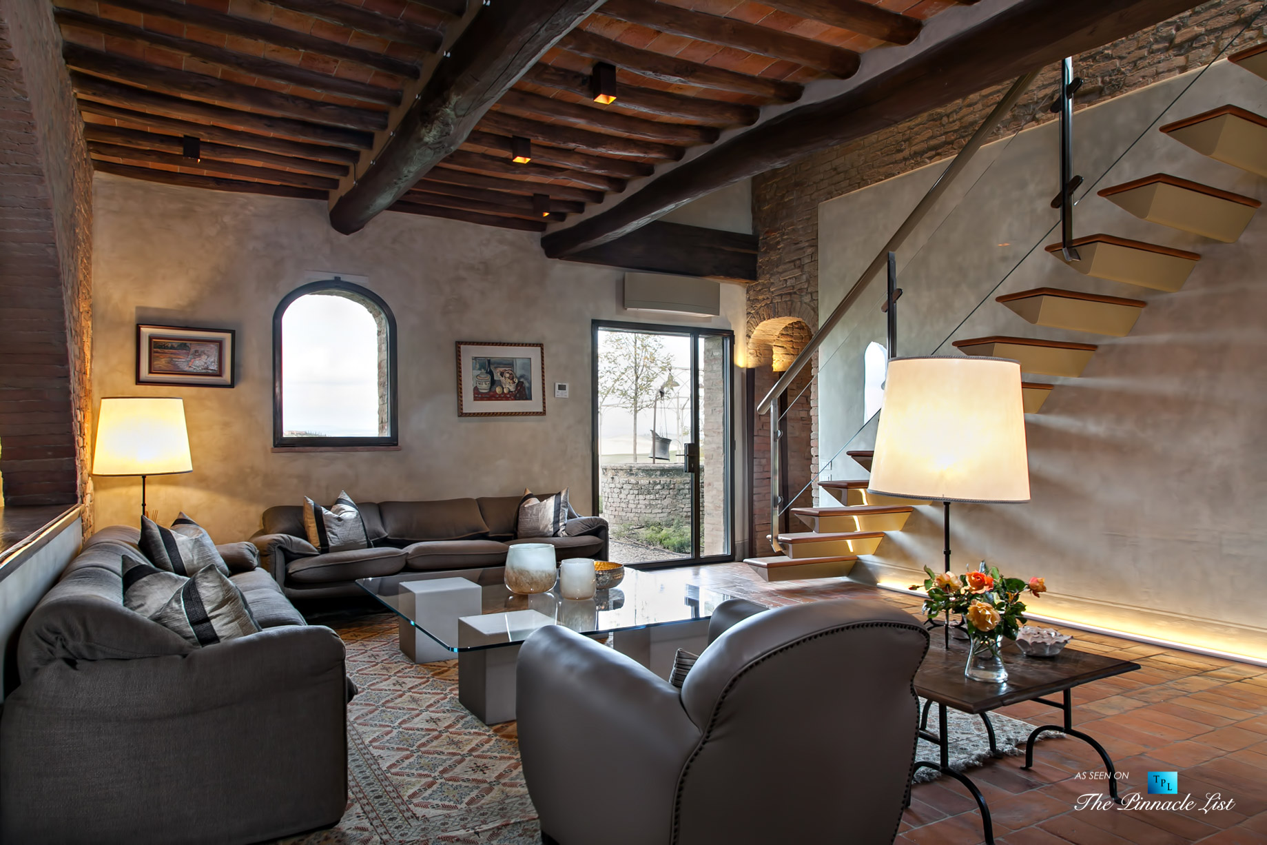 Podere Paníco Estate – Monteroni d'Arbia, Tuscany, Italy – Living Room and Stairs – Luxury Real Estate – Tuscan Villa