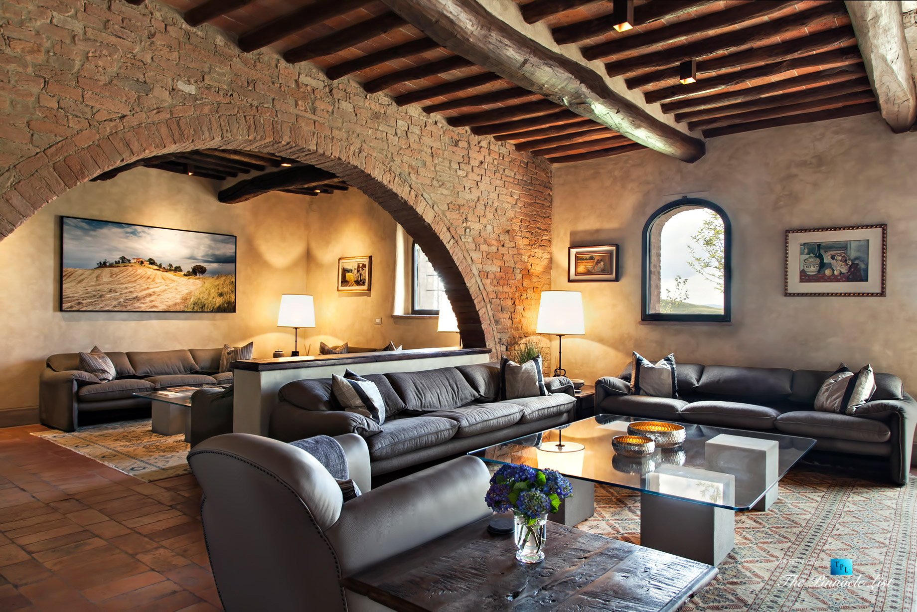 Podere Paníco Estate - Monteroni d'Arbia, Tuscany, Italy - Living Room - Luxury Real Estate - Tuscan Villa