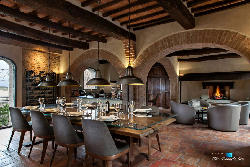 Podere Paníco Estate - Monteroni d'Arbia, Tuscany, Italy - Dining Room and Kitchen - Luxury Real Estate - Tuscan Villa