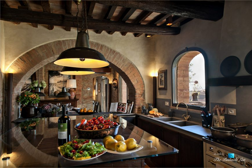 Podere Paníco Estate - Monteroni d'Arbia, Tuscany, Italy - Kitchen and Dining Room - Luxury Real Estate - Tuscan Villa