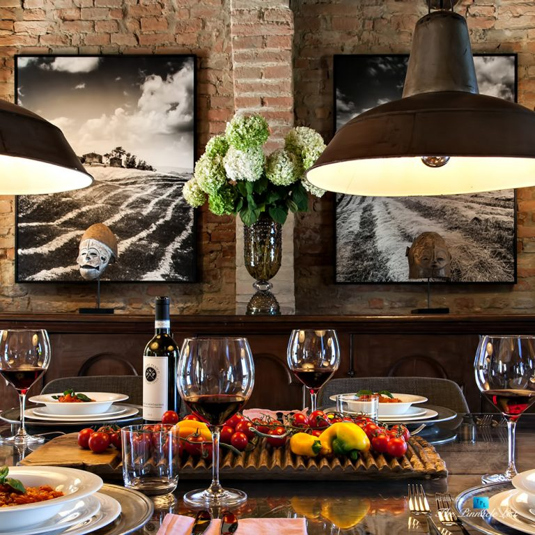 Podere Paníco Estate – Monteroni d'Arbia, Tuscany, Italy – Dining Room Table Gourmet Food – Luxury Real Estate – Tuscan Villa