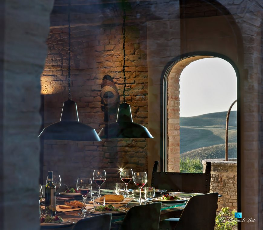 Podere Paníco Estate - Monteroni d'Arbia, Tuscany, Italy - Dining Room Table Gourmet Food - Luxury Real Estate - Tuscan Villa