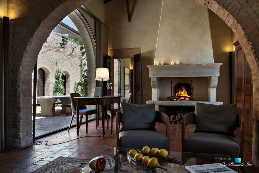 Podere Paníco Estate - Monteroni d'Arbia, Tuscany, Italy - Sitting Area Fireplace - Luxury Real Estate - Tuscan Villa