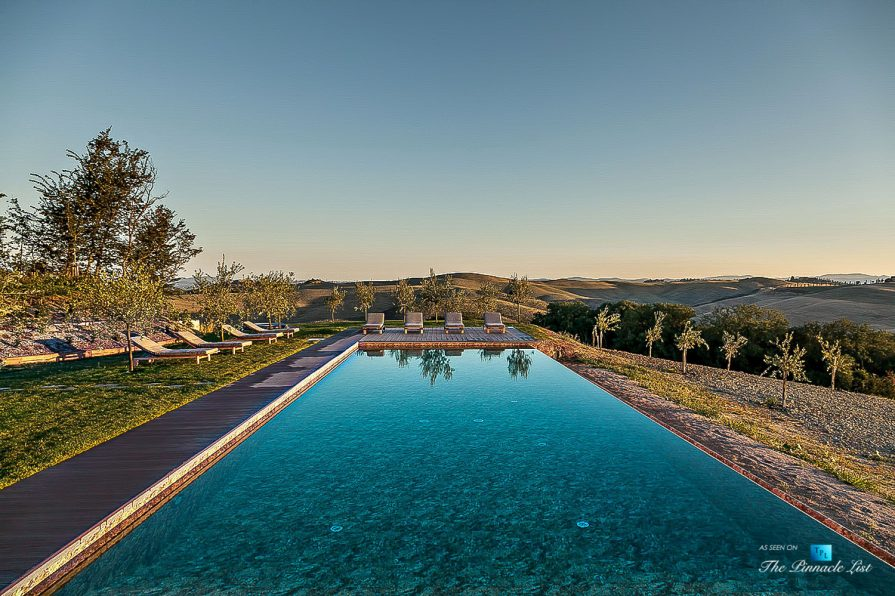 Podere Paníco Estate - Monteroni d'Arbia, Tuscany, Italy - Property Outdoor Pool and Deck View - Luxury Real Estate - Tuscan Villa