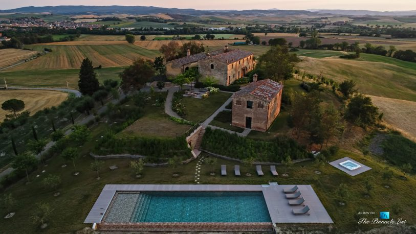 Podere Paníco Estate - Monteroni d'Arbia, Tuscany, Italy - Sunset Aerial Property Pool View - Luxury Real Estate - Tuscan Villa
