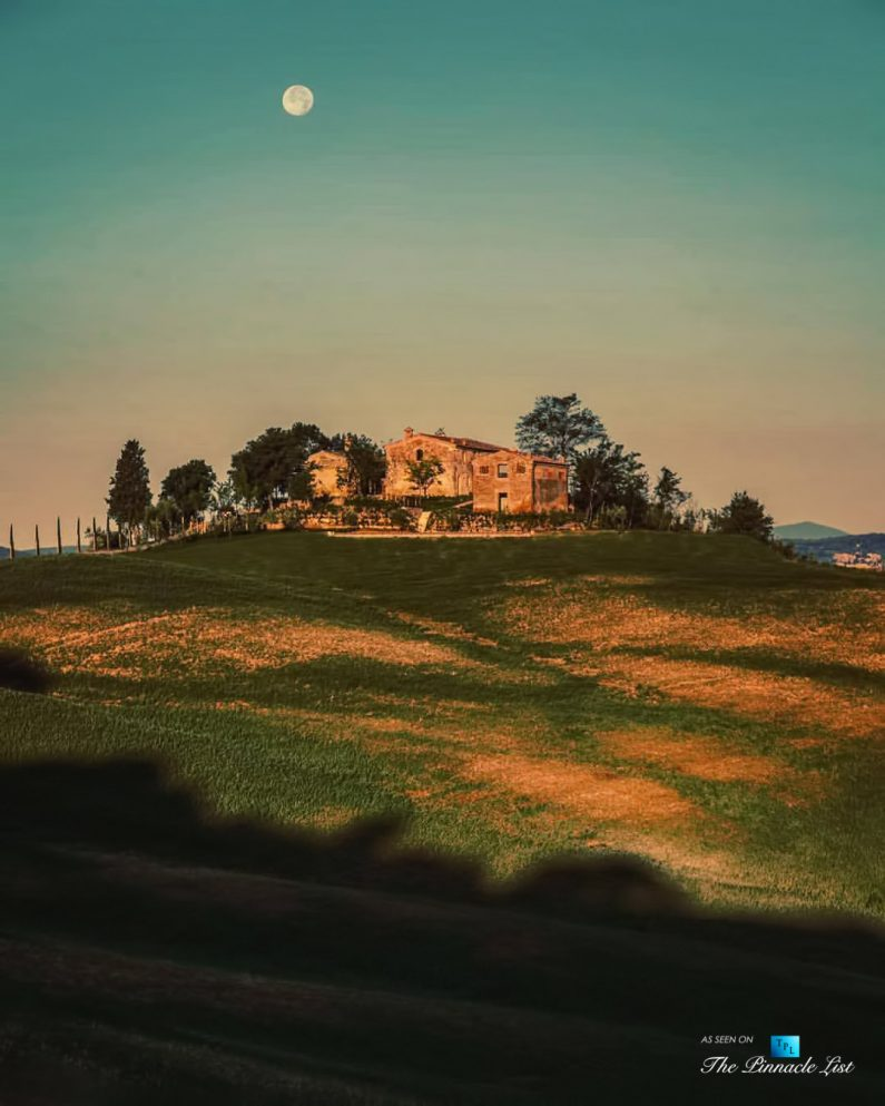 Podere Paníco Estate - Monteroni d'Arbia, Tuscany, Italy - Night Moonlight Property View - Luxury Real Estate - Tuscan Villa