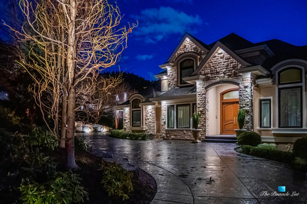 2057 Ridge Mountain Drive, Anmore, BC, Canada -Night Exterior Front View - Luxury Real Estate - West Coast Greater Vancouver Home