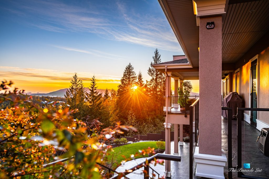 2057 Ridge Mountain Drive, Anmore, BC, Canada - Covered Deck Sunset - Luxury Real Estate - West Coast Greater Vancouver Home