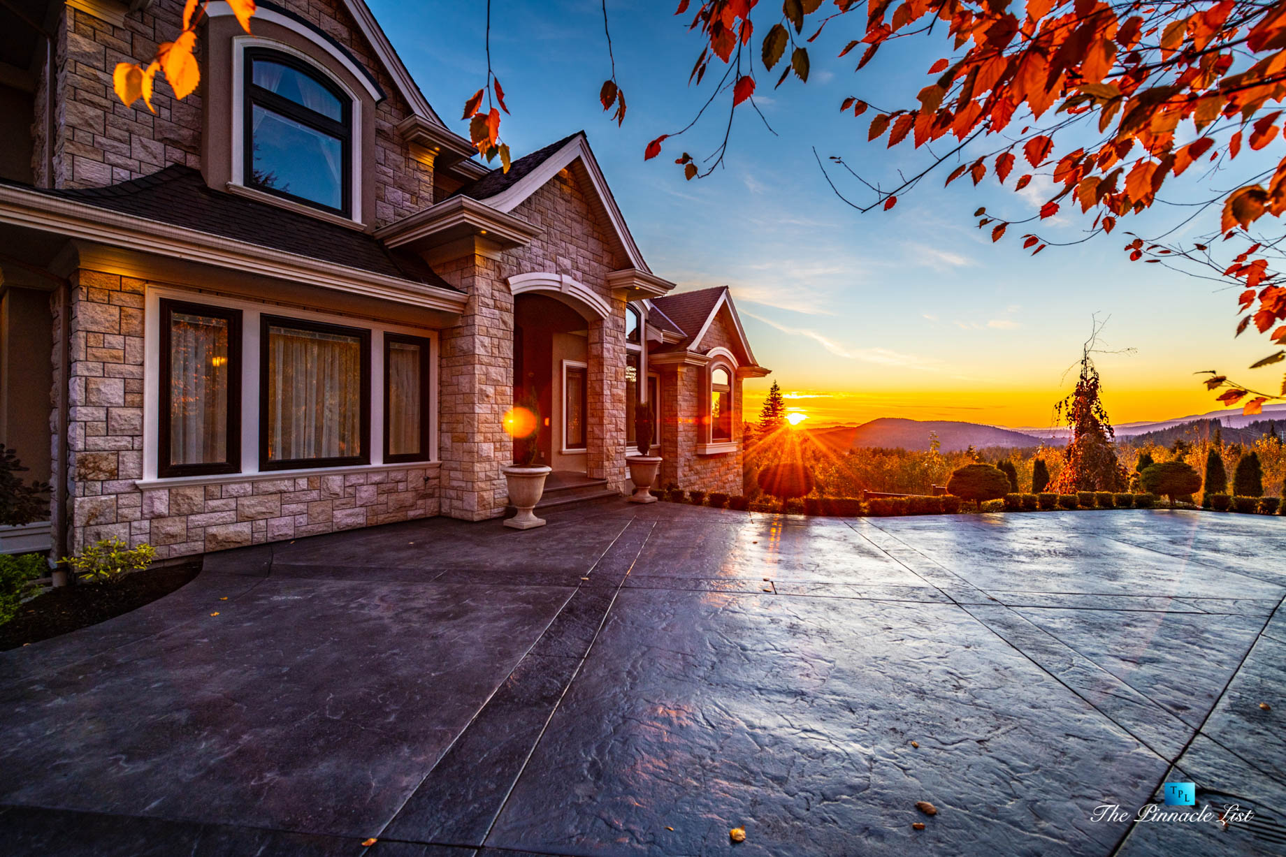 2057 Ridge Mountain Drive, Anmore, BC, Canada - House Front Private Driveway Sunset - Luxury Real Estate - West Coast Greater Vancouver Home