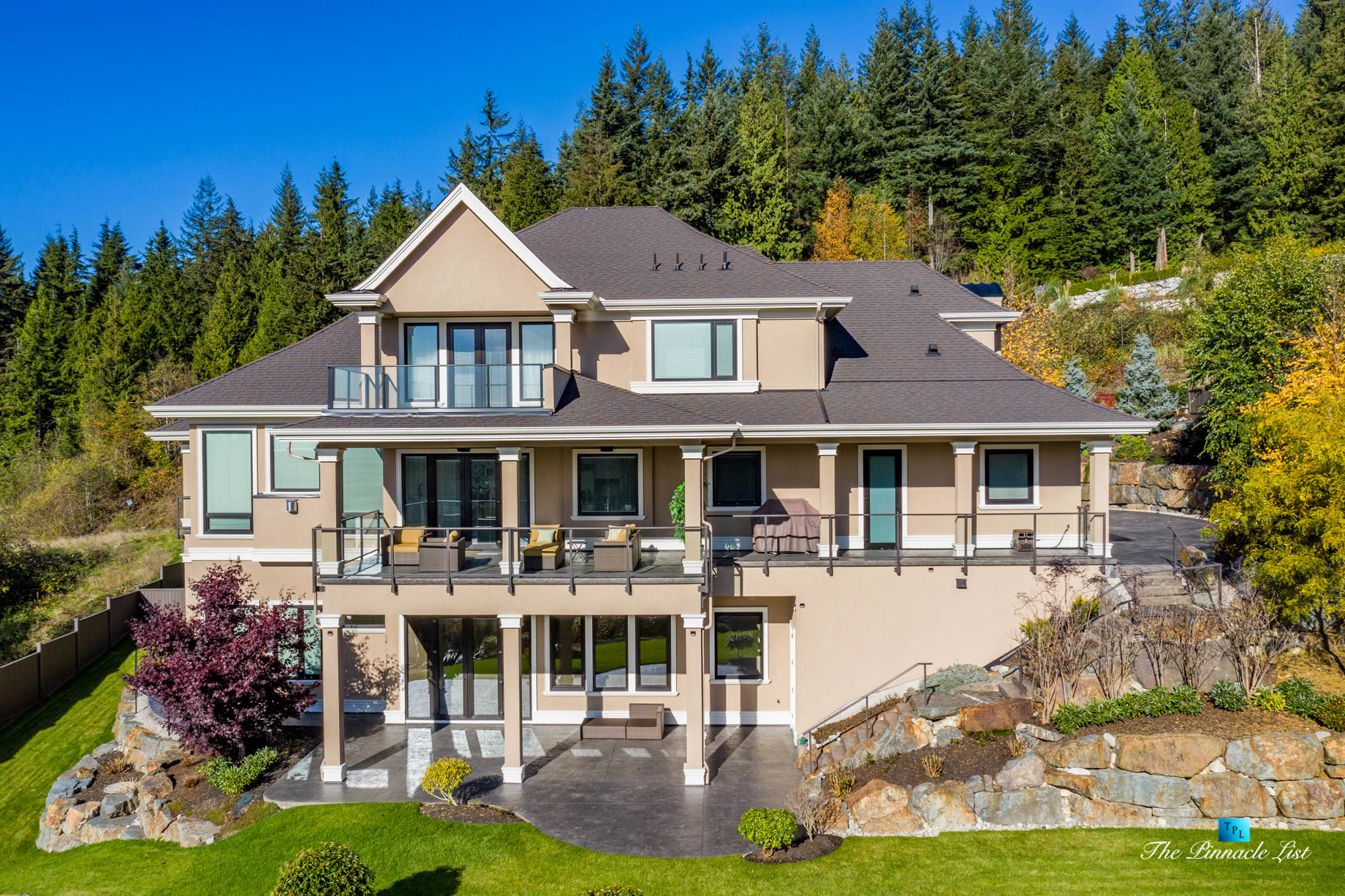 2057 Ridge Mountain Drive, Anmore, BC, Canada – House Backyard Drone Aerial View – Luxury Real Estate – West Coast Greater Vancouver Home
