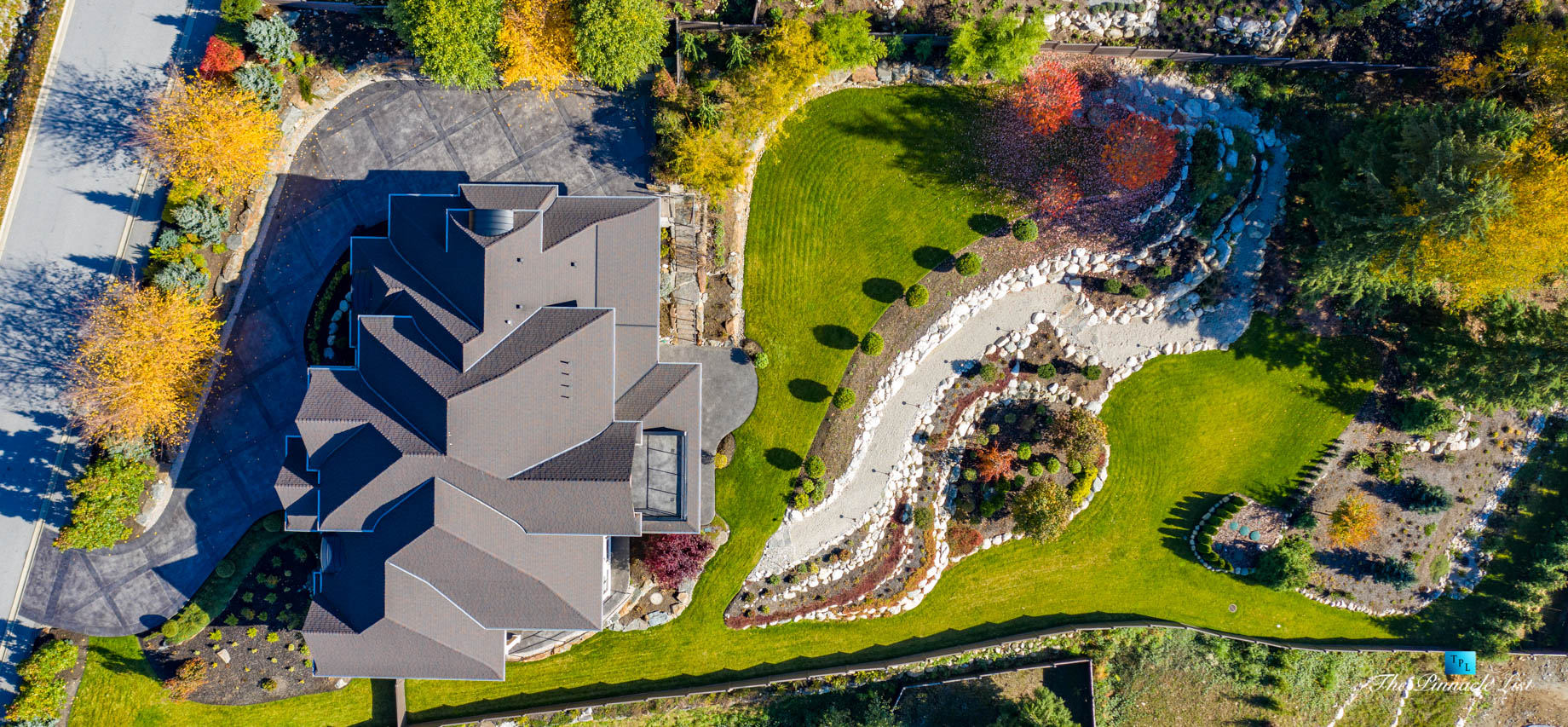 2057 Ridge Mountain Drive, Anmore, BC, Canada – House Overhead Drone Aerial Property View – Luxury Real Estate – West Coast Greater Vancouver Home