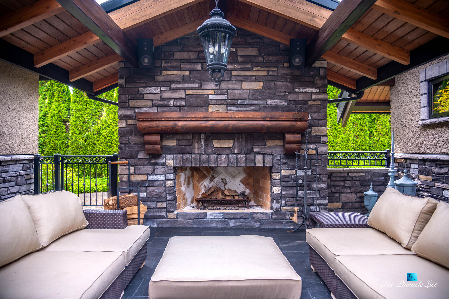 3053 Anmore Creek Way, Anmore, BC, Canada – Backyard Outdoor Wood Fireplace Covered Deck – Luxury Real Estate – Greater Vancouver Home