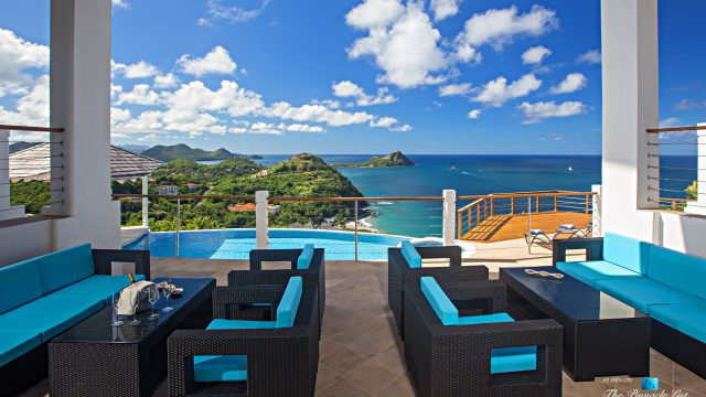 Akasha Luxury Caribbean Villa - Cap Estate, St. Lucia - Private Deck Overlooking Infinity Pool - Luxury Real Estate - Premier Oceanview Home
