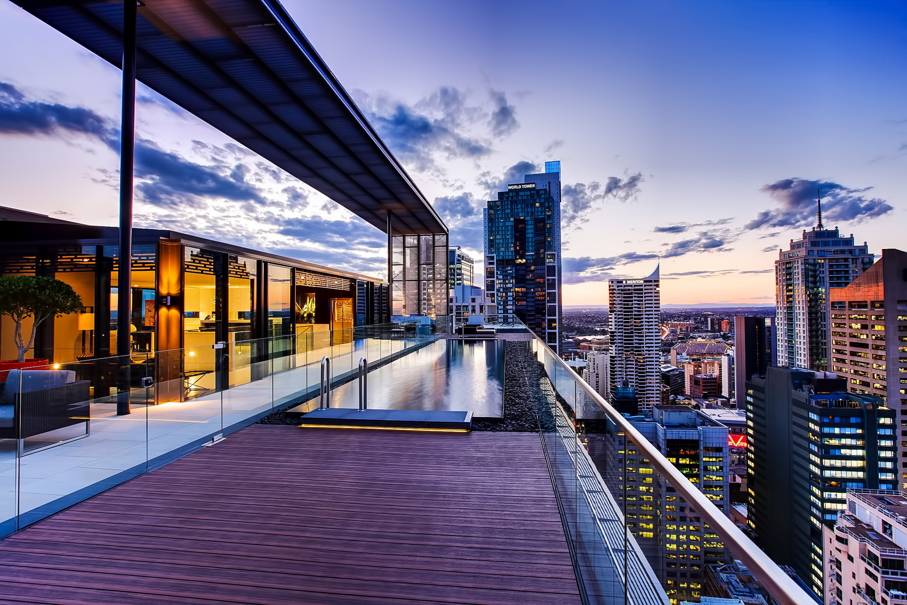The Penthouse View from the Luxury Hyde Apartment Building in Sydney, Australia