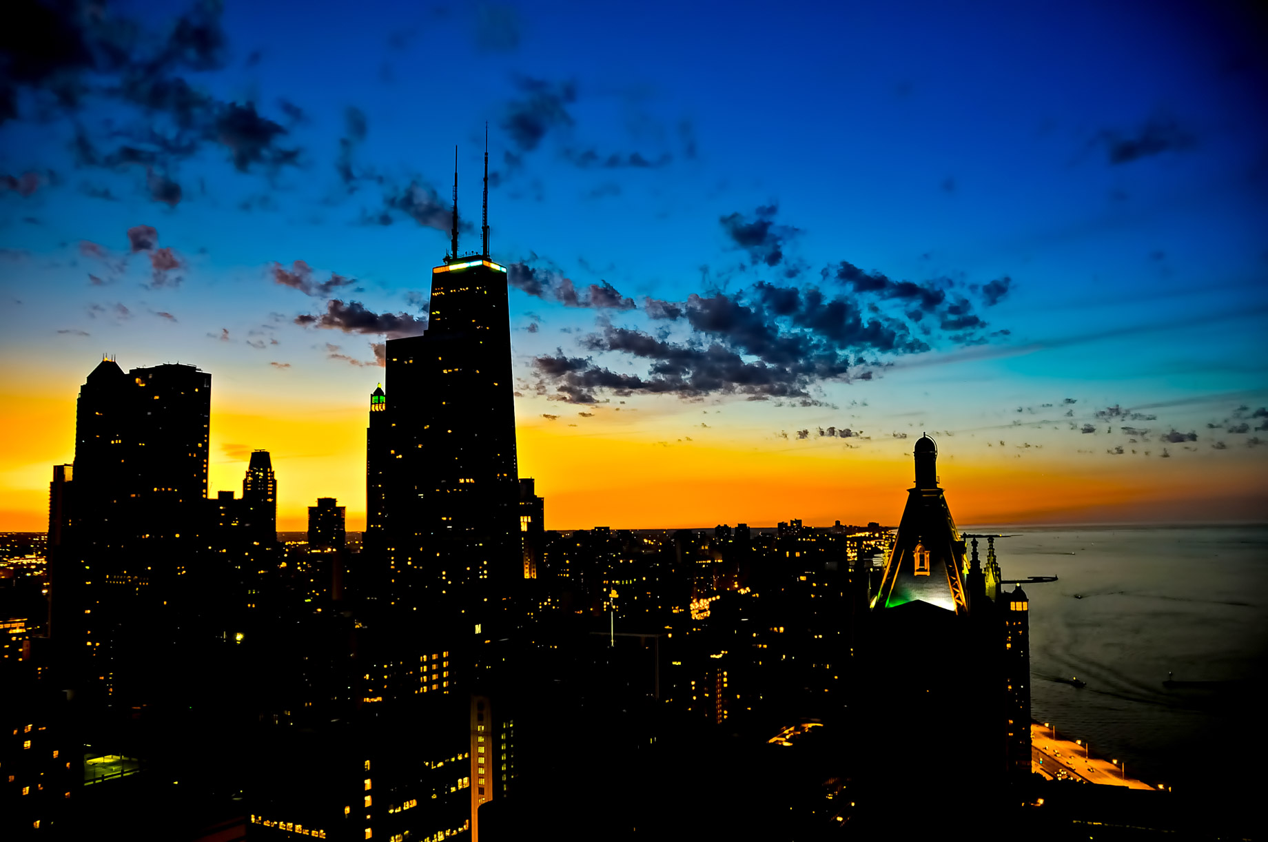 Sunset View of North Side Chicago Streeterville Neighborhood District