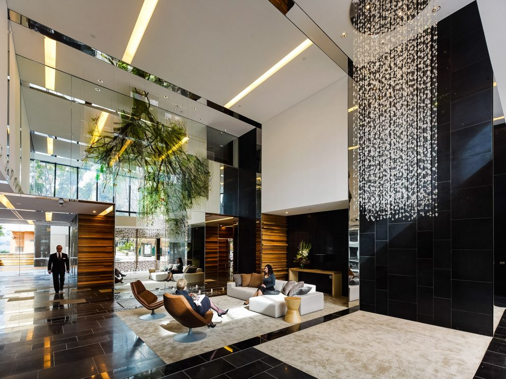 The Sunlit Double Lobby of the Luxury Hyde Apartment Building in Sydney, Australia