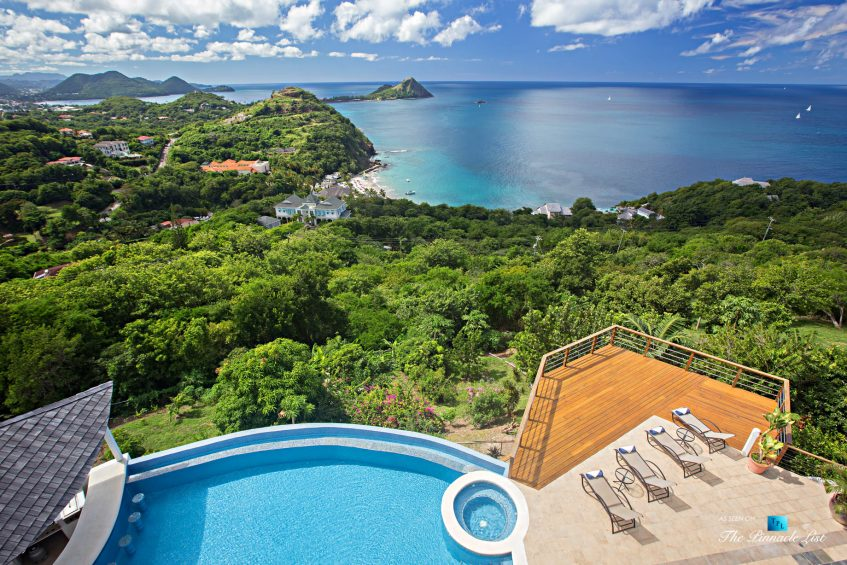 Akasha Luxury Caribbean Villa - Cap Estate, St. Lucia - Drone Aerial Infinity Pool and Hot Tub View - Luxury Real Estate - Premier Oceanview Home