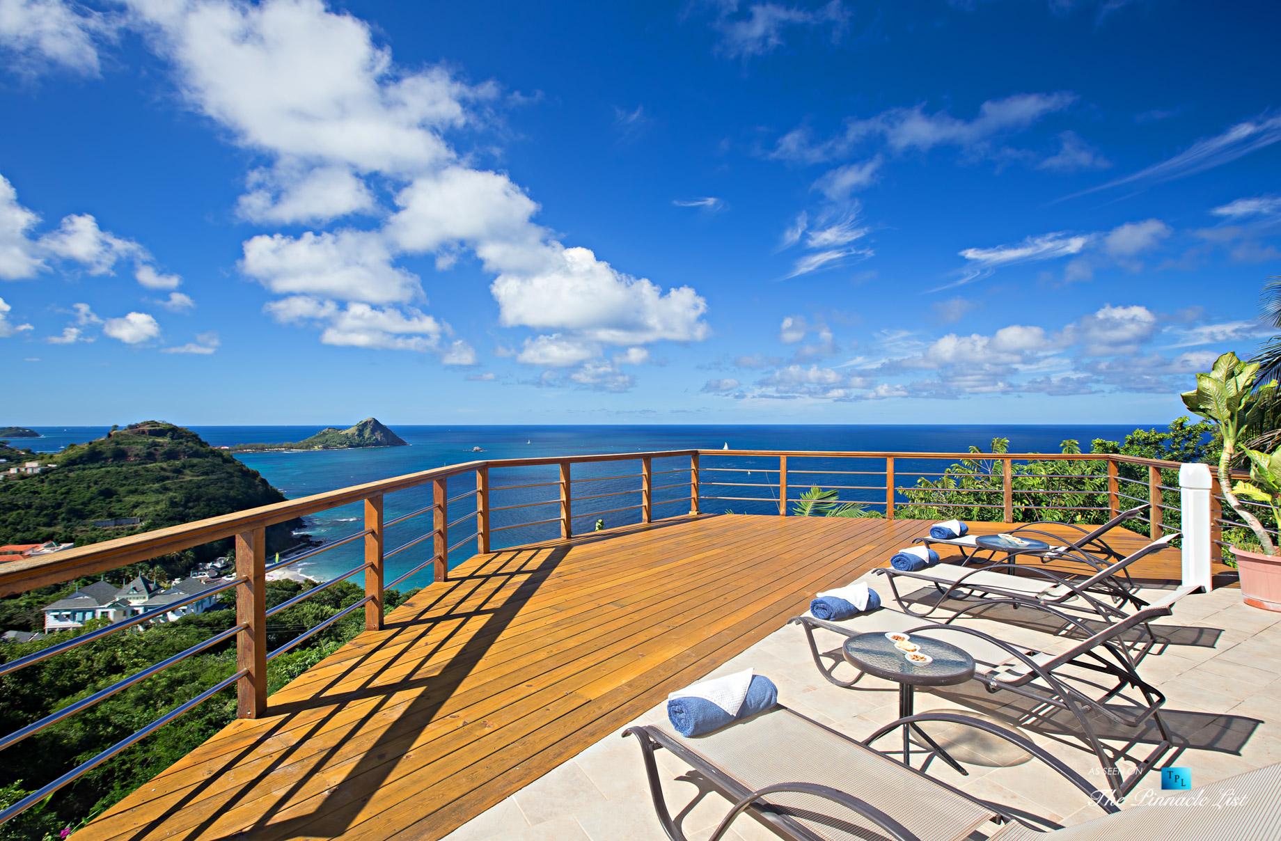 Akasha Luxury Caribbean Villa – Cap Estate, St. Lucia – Private Deck View – Luxury Real Estate – Premier Oceanview Home