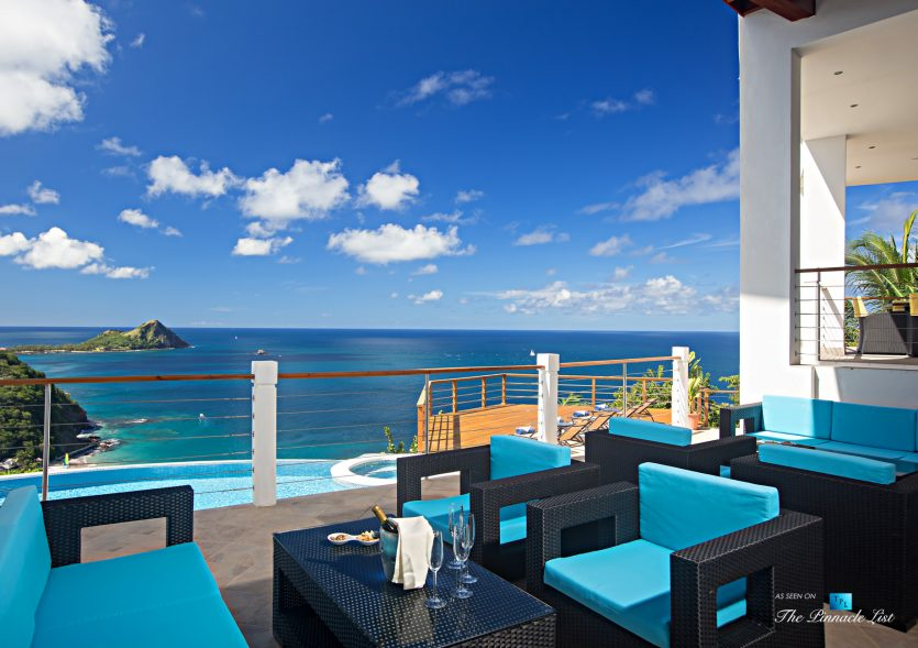 Akasha Luxury Caribbean Villa - Cap Estate, St. Lucia - Private Deck Overlooking Infinity Pool View - Luxury Real Estate - Premier Oceanview Home