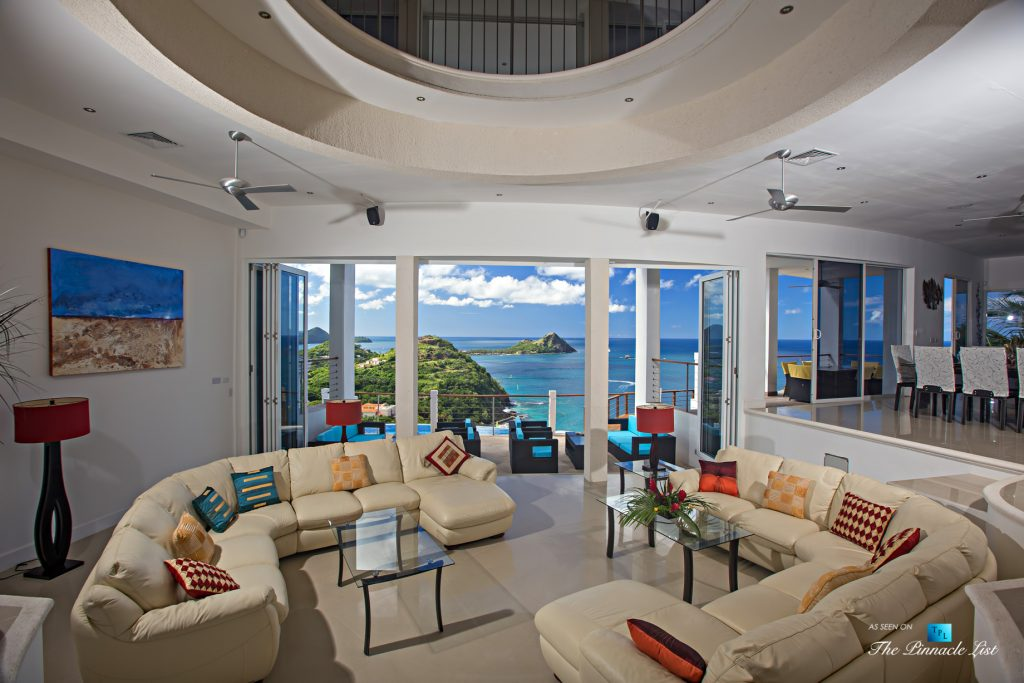 Akasha Luxury Caribbean Villa - Cap Estate, St. Lucia - Living Room View Overlooking Infinity Pool - Luxury Real Estate - Premier Oceanview Home