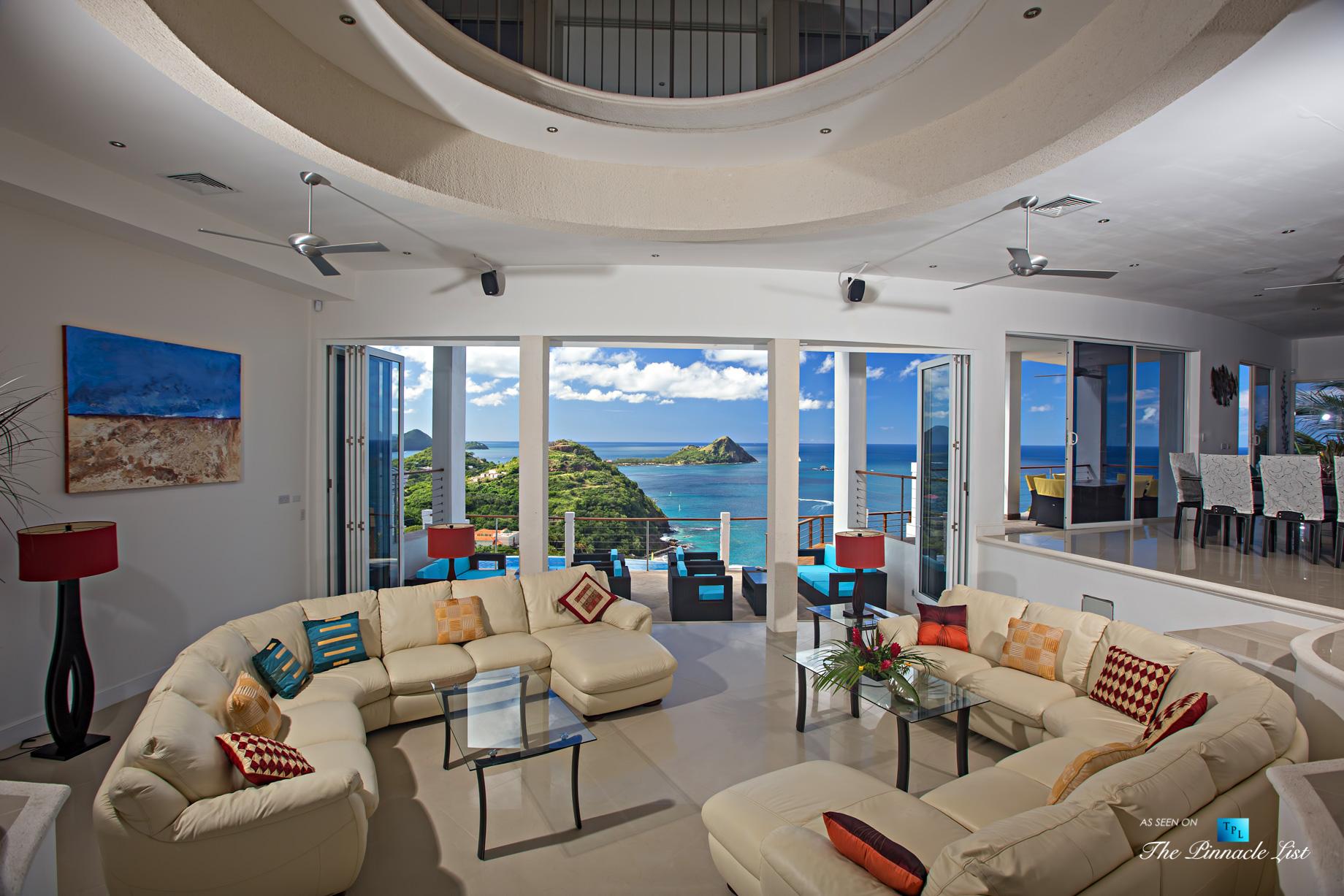 Akasha Luxury Caribbean Villa - Cap Estate, St. Lucia - Living Room View Overlooking Infinity Pool - Luxury Real Estate - Premier Oceanview Home
