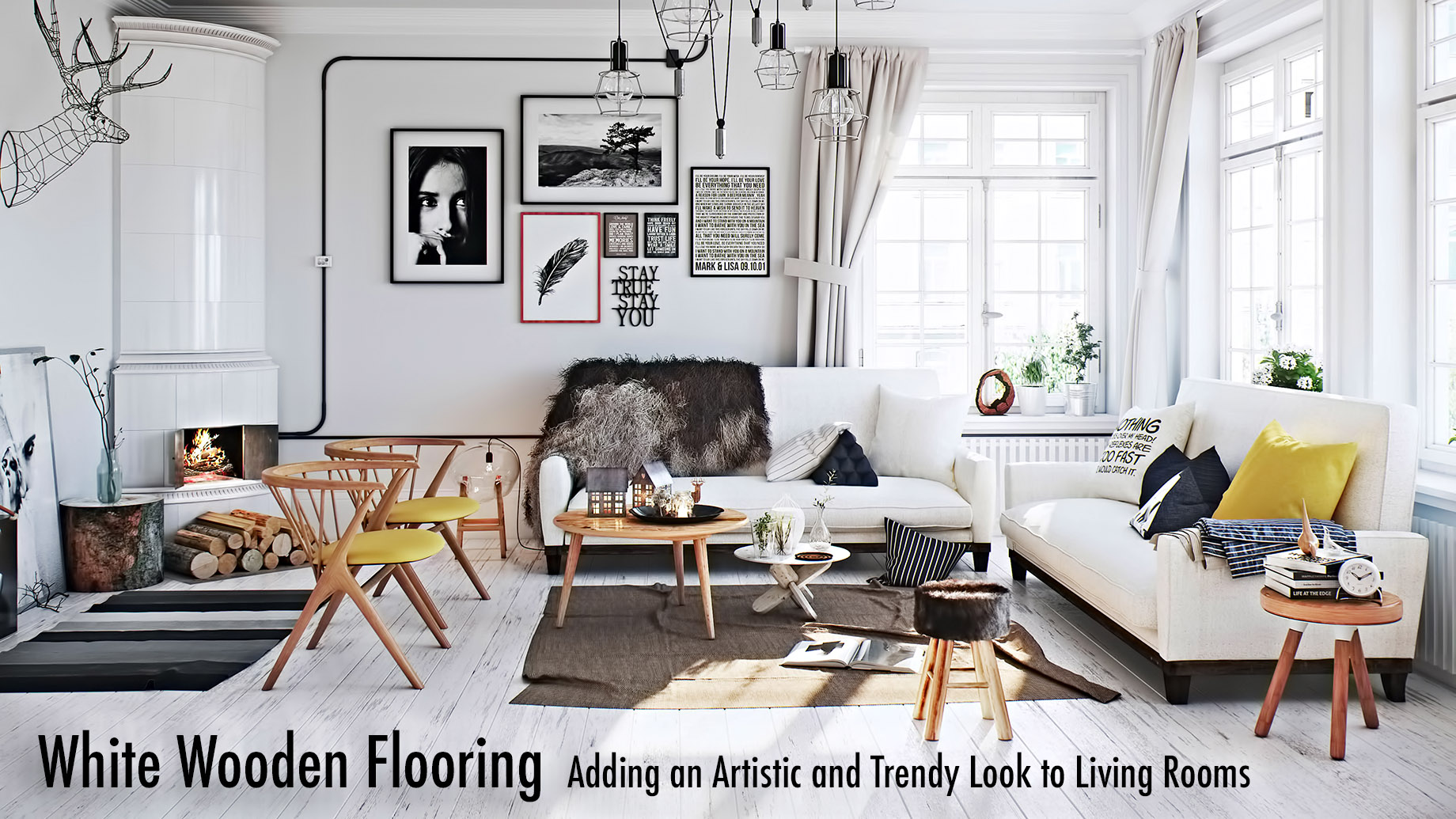 White Wooden Flooring Adding An Artistic And Trendy Look To