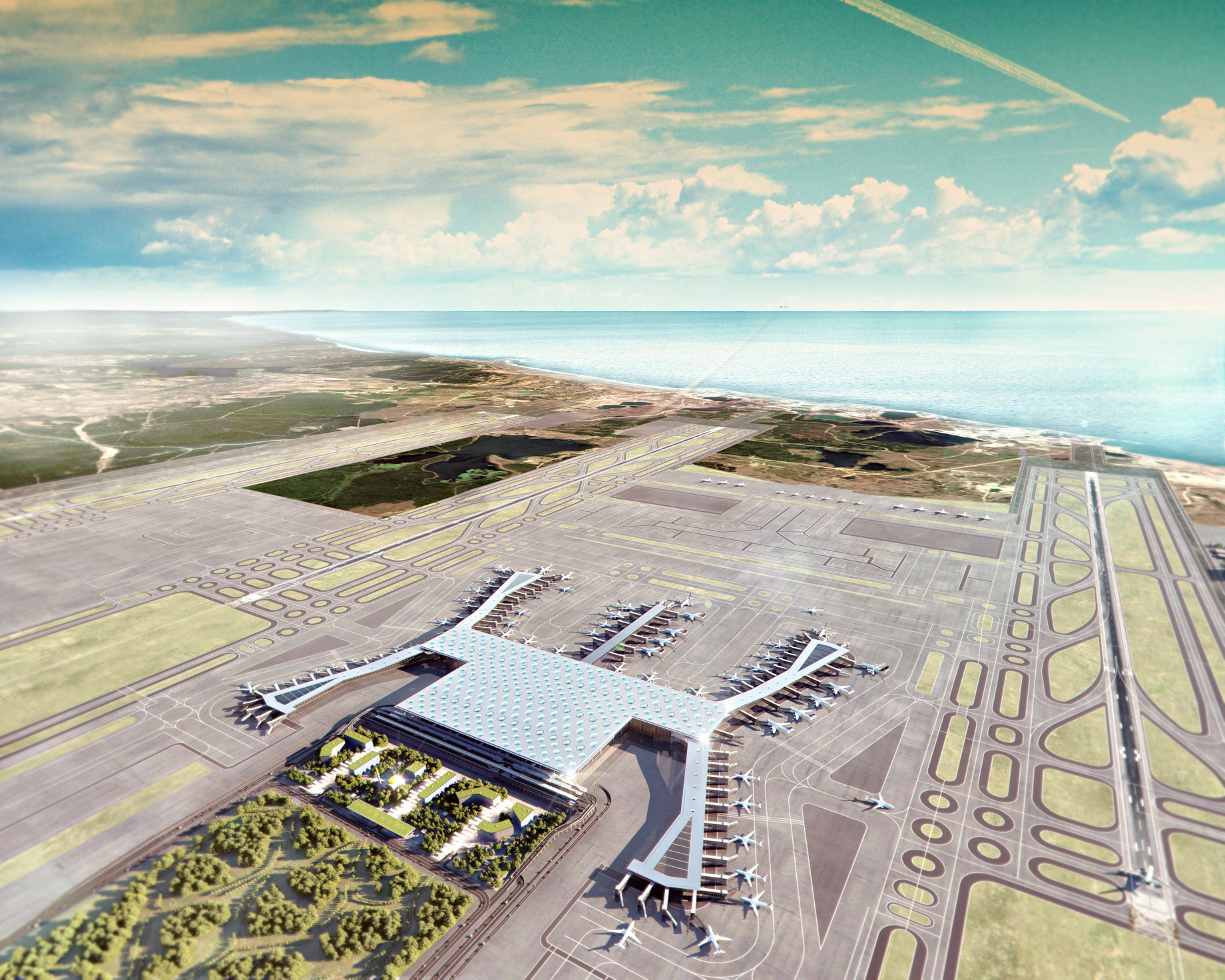 Aerial View - New International Airport in Istanbul, Turkey will be a Modern Architectural Masterpiece